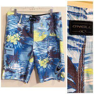 O'Neill MENS Hawaiian Print Board Shorts W34